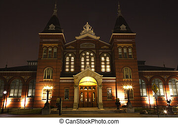 industrias, edificio, artes, museo, washington dc, smithsonian, noche, institución