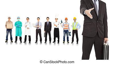 industrias, hombre de negocios, diferente, coopere, gente