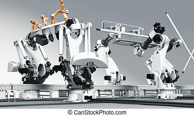 industrie, aufeinanderwirken, roboter