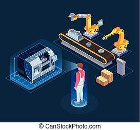 industrie, augmented, wirklichkeit, isometrisch