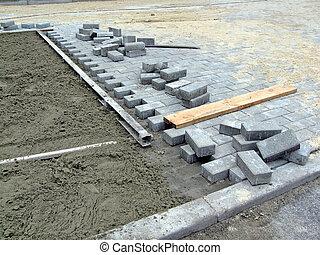 industrie, baksteen, wegenbouw, details, nieuw