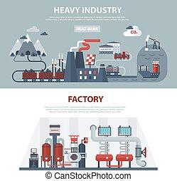 industrie, bannières, énergie