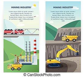 industrie, bannières, ensemble, exploitation minière