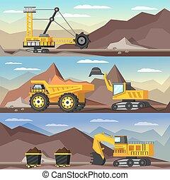 industrie, bannières, ensemble, exploitation minière, orthogonal