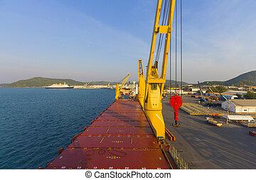 industrie, bateau, paysage, port