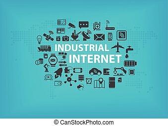 industrie, begriff, (iot), internet