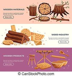 industrie, bois, bannières