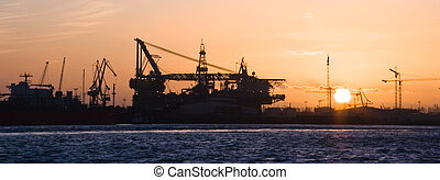 industrie, bouwsector, silhouette