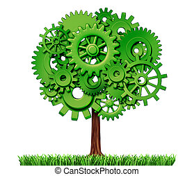 industrie, business, reussite, arbre