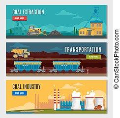 industrie charbon, ensemble, bannières