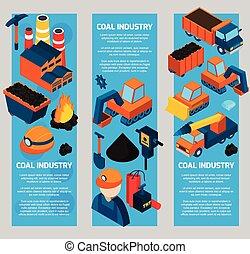 industrie charbon, isométrique, bannières