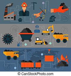 industrie charbon, ligne, bannières