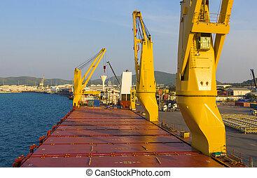 industrie, chargement, bateau, port
