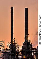 industrie, cheminées, botlek.