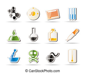 industrie, chimie, icônes