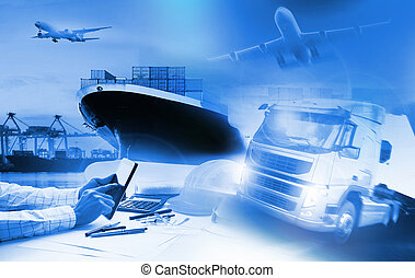 industrie, commercial, business, logistique, avion, transport camion, port, import-export, récipient, fret, cargaison