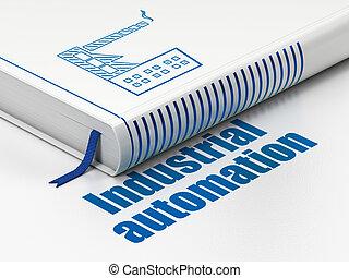 industrie, concept:, livre, industrie, bâtiment, industriel, automation, blanc, fond