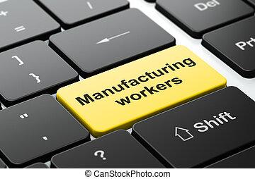 industrie, concept:, productiewerk, werkmannen , op, computer toetsenbord, achtergrond
