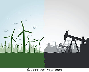 industrie, contre, nature