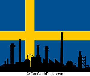 industrie, drapeau, suède
