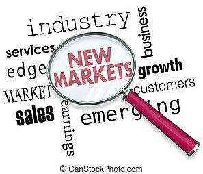 industrie, emergere, illustrazione, vetro, parole, nuovo, mercati, ingrandendo, 3d
