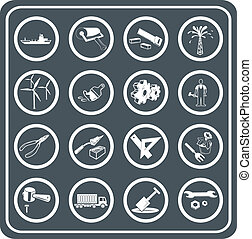 industrie, ensemble, outils, icône