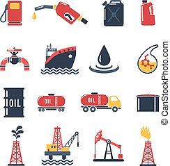 industrie, ensemble, pétrole, icône