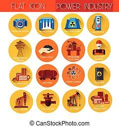 industrie, ensemble, puissance, collection, icône