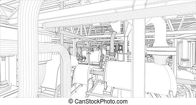 industrie, equipment., wire-frame, render, 3d