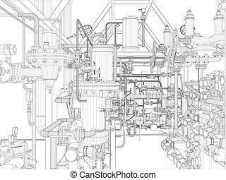 industrie, equipment., wire-frame, render
