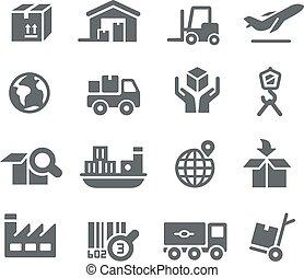 industrie, et, logistique, icônes