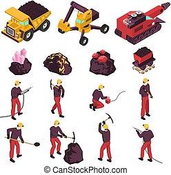 industrie, exploitation minière, ensemble, isométrique, icônes