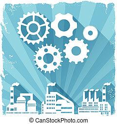 industrie, fabrik, gebäude, hintergrund.