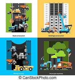 industrie, gebouw stel, iconen
