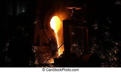 industrie, gesmolten, steel., metaal, metallurgy.