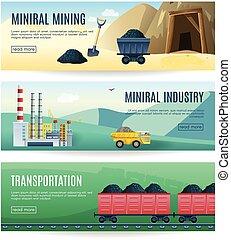 industrie, horizontal, exploitation minière, bannières