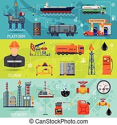 industrie, huile, bannières