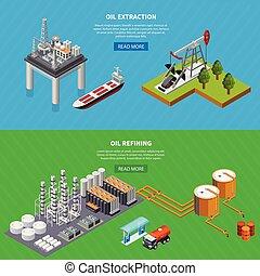 industrie, huile, ensemble, bannières