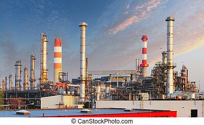 industrie, huile, -, usine