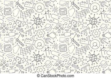 industrie, icon., ligne, 4.0, fond