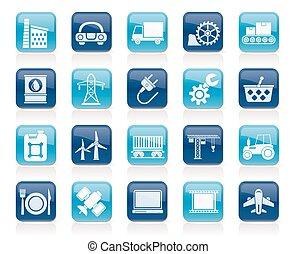 industrie, icones affaires