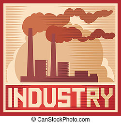 industrie, industriel, -, affiche, plante