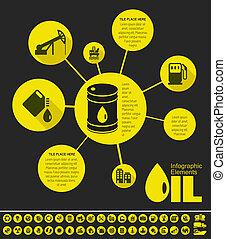 industrie, infographic, gabarit, huile