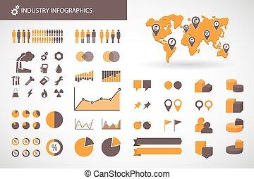 industrie, infographics, apparenté, kit