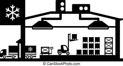 industrie, kühlhaus, szene