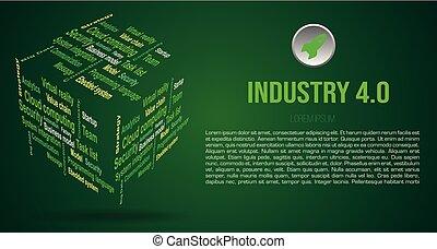 industrie kleur, groene, wolk, achtergrond, 3d, 4.0, over, woord, kubus, vector, termijnen