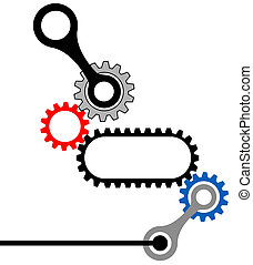 industrie, komplex, gearbox-mechanical