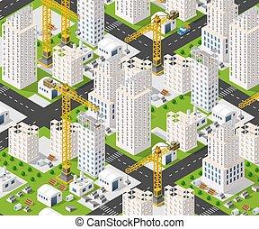 industrie, kraan, bouwsector
