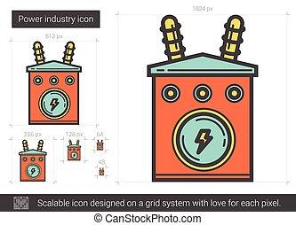 industrie, ligne, icon., puissance