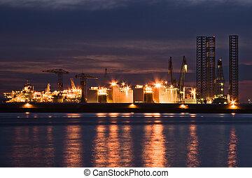 industrie, nuit, construction-, ship-repair
